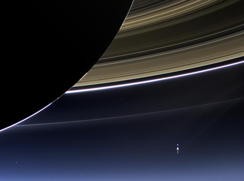 """""""The day the earth smiled"""" - an image of the earth from Saturn, taken by the Cassini Spacecraft, 19th July 2013. Image credit: NASA/JPL-Caltech/Space Science Institute"""